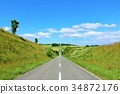 blue sky, sunny, hokkaido 34872176