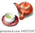 teapot, japanese tea, green tea 34872297