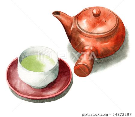 กาน้ำชาและถ้วยชาเขียวที่วาดด้วยสีน้ำ 34872297