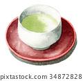 ถ้วยน้ำชาและโต๊ะน้ำชาพร้อมชาเขียวทาสีในสีน้ำ 34872828