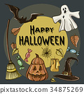 Happy Halloween hand drawn illustrations 34875269