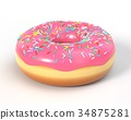 Delicious donut with icing and sprinkles 34875281