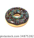 Delicious donut with chocolate icing and sprinkles 34875282