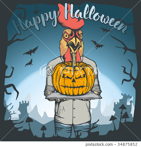 Vector illustration of Halloween rooster concept 34875852