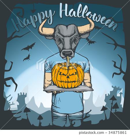 Vector illustration of Halloween bull concept 34875861
