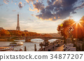 Paris with Eiffel Tower against sunset in France 34877207