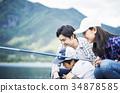 家庭享受釣魚 34878585
