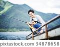 家庭享受釣魚 34878658
