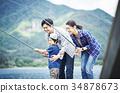 家庭享受釣魚 34878673