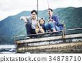 家庭享受釣魚 34878710