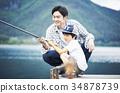 ครอบครัวกำลังตกปลา 34878739