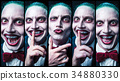 Bloody Halloween theme: crazy vampire face 34880330