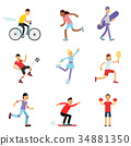 Teen boys and girls engaging in different sports 34881350