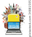 laptop suitcase travel bag with world landmark 34881505