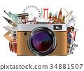 real compact travel camera with world landmark 34881507