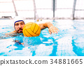 Water polo player in a swimming pool. 34881665