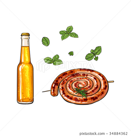 Cold beer and grilled barbequed Cumberland sausage 34884362