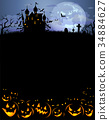 Halloween background with scary pumpkins and 34884627