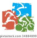 riathlon Racers grunge stylized. 34884899