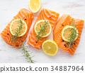 salmon, raw, herb 34887964