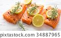 salmon, raw, herb 34887965