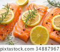 salmon, raw, herb 34887967