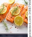 salmon, raw, herb 34887968