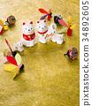 ราศีสัญญาณหุ่น (พื้นหลังกระดาษ washi สีทอง) 34892605