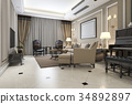 classic living room with piano and armchair 34892897