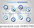 Infographic design with celebration icons 34893788