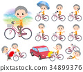 short hair old women_city bicycle 34899376