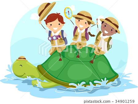 Stickman Kids Explorer Turtle Adventure 34901259