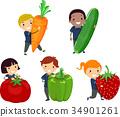 kids, fruits, vegetables 34901261