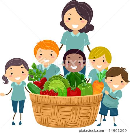 Stickman Teacher Harvest Basket Illustration 34901299