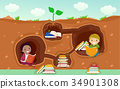 Stickman Kids Books Underground Illustration 34901308