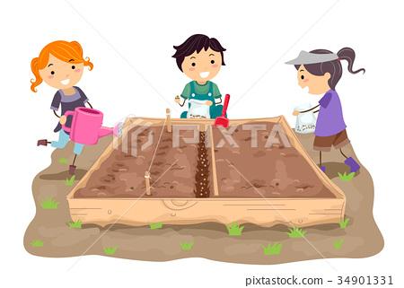 Stickman Kids Straight Rows Sow Illustration 34901331