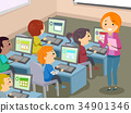 Stickman Kids Computer Lab Illustration 34901346