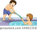 Kids Boys Pool Noodle Help Swim Illustration 34901358