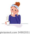 자기 전에 커피를 마시는 여성 34902031