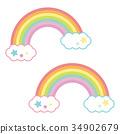 Yume逗人喜愛的色的彩虹和雲彩淡色 34902679