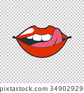 Quirky lips. Vector patch, sticker isolated on a 34902929