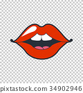 Lips kiss. Vector patch, sticker isolated on white 34902946