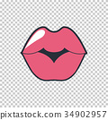 Lips kiss. Vector patch, sticker isolated on white 34902957