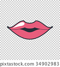 Lips kiss. Vector patch, sticker isolated on white 34902983