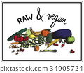 fruits and vegetables  raw and vegan 34905724