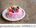 Sweet cheese cake with fresh berries and yoghurt 34906213