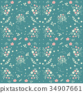 Seamless floral pattern white small flowers 34907661