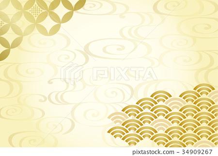 日本圖案背景材料(明信片尺寸) 34909267