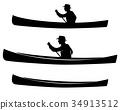 man in canoe boat black vector silhouette set 34913512