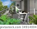 veranda, gardening, wooden deck 34914004